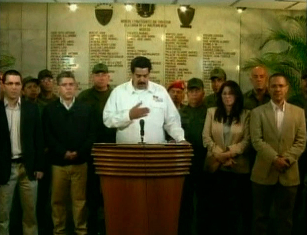 . Venezuela\'s Vice President Nicolas Maduro announces the death of President Hugo Chavez, in Caracas, in this March 5, 2013 still image taken from video courtesy of VTV. Chavez died after a two-year battle with cancer, ending the socialist leader\'s 14-year rule of the South American country. REUTERS/VTV/REUTERS TV/Handout