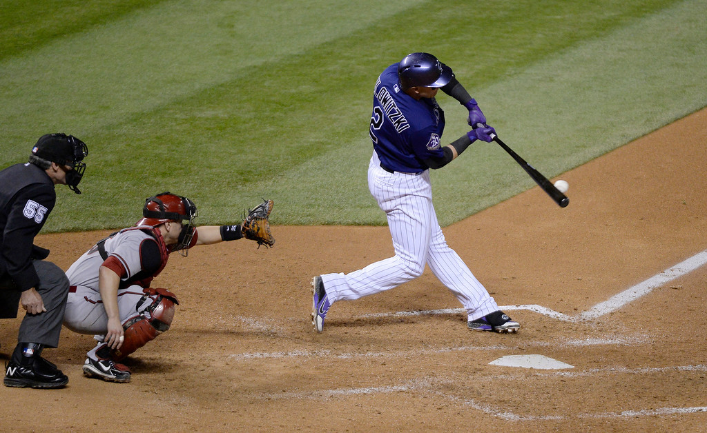. DENVER, CO. - MAY 20: Troy Tulowitzki (2) of the Colorado Rockies grounds out to Didi Gregorius (1) of the Arizona Diamondbacks to end the game May 20, 2013 at Coors Field. Arizona defeated Colorado 5-1 in the first of a three game series. (Photo By John Leyba/The Denver Post)
