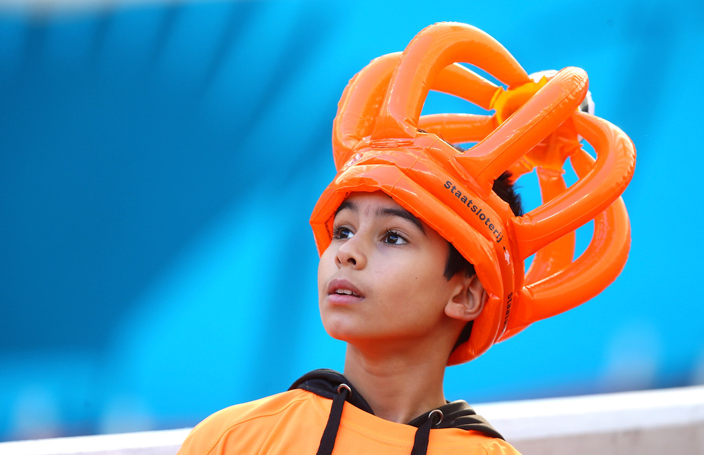 . A fan of the Netherlands enjoys the atmosphere prior to the 2014 FIFA World Cup Brazil Group B match between Australia and Netherlands at Estadio Beira-Rio on June 18, 2014 in Porto Alegre, Brazil.  (Photo by Jeff Gross/Getty Images)