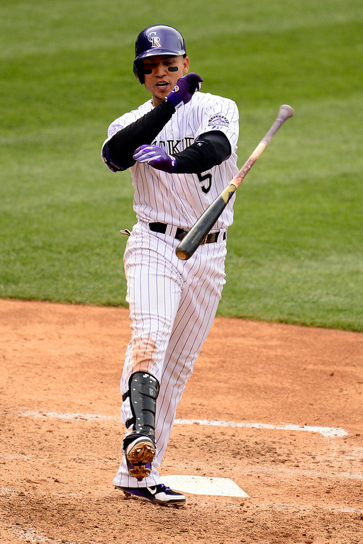. DENVER, CO - MAY 5: Carlos Gonzalez (5) of the Colorado Rockies throws his bat after striking out against the Tampa Bay Rays during the Rockies\' 8-3 loss.   (Photo by AAron Ontiveroz/The Denver Post)