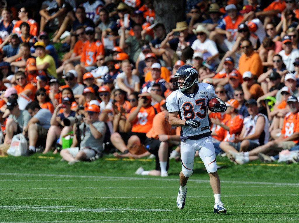 . ENGLEWOOD, CO - JULY 27: Denver Broncos WR, Wes Welker during training camp at Dove Valley Saturday July 26, 2013.  (Photo By Andy Cross/The Denver Post)