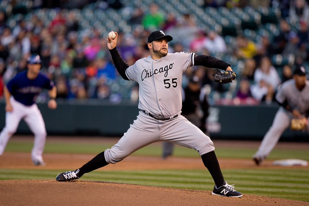 . Starting pitcher Felipe Paulino #55 of the Chicago White Sox delivers to home plate during the second inning against the Chicago White Sox at Coors Field on April 7, 2014 in Denver, Colorado. (Photo by Justin Edmonds/Getty Images)