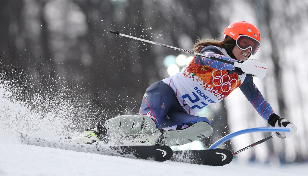. Juylia Mancuso of the US in action during the Slalom portion of the Women\'s Super Combined race at the Rosa Khutor Alpine Center during the Sochi 2014 Olympic Games, Krasnaya Polyana, Russia, 10 February 2014.  EPA/KARL-JOSEF HILDENBRAND
