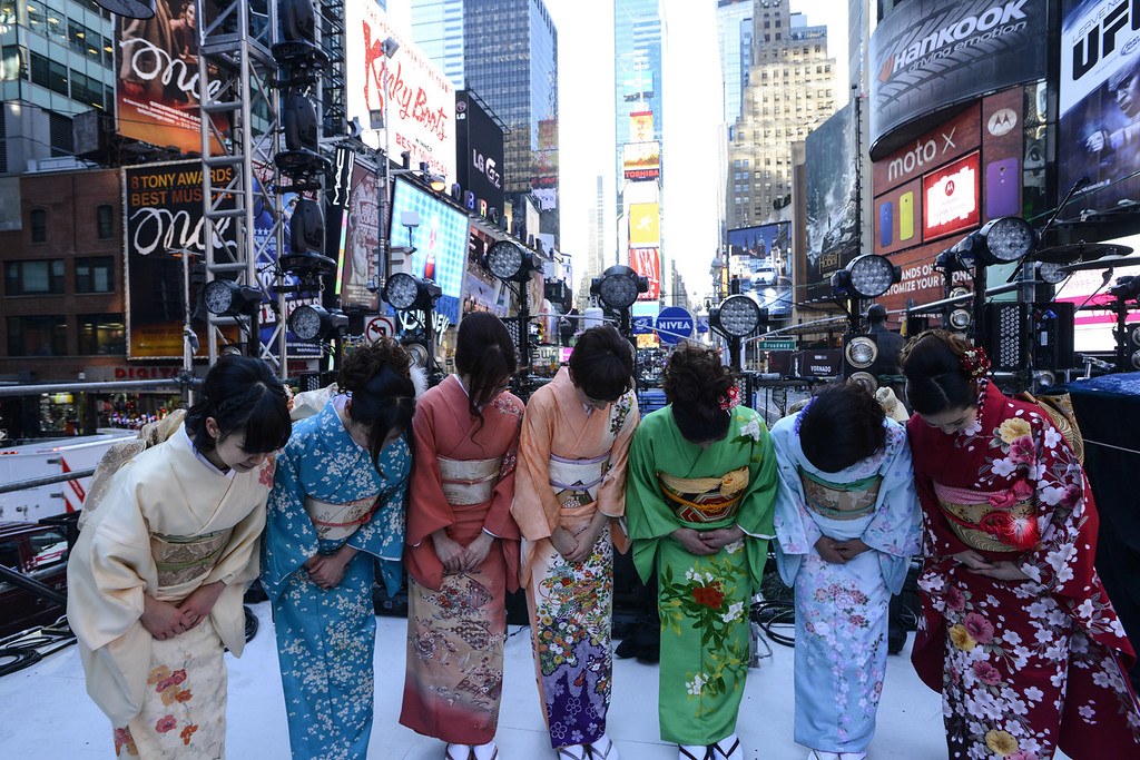 . Toshiba Kimono Girls attend the Japanese New Year Countdown at Times Square on December 31, 2013 in New York City.  (Photo by Eugene Gologursky/Getty Images for Toshiba)
