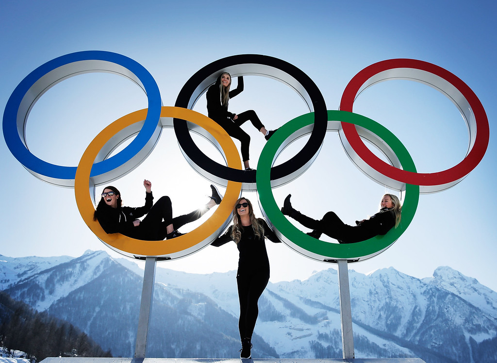 . Shelly Gotlieb, Stefi Luxton, Christy Prior and Rebecca Torr of New Zealand pose for a picture at the with the Olympic Rings at Athletes Village ahead of the Sochi 2014 Winter Olympics on February 4, 2014 in Sochi, Russia.  (Photo by Adam Pretty/Getty Images)