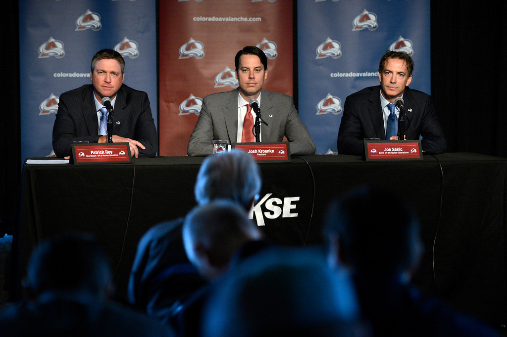 . Patrick Roy, Head Coach/Vice President of Hockey Operations, Avalanche President Josh Kroenke and Executive Vice President of Hockey Operations Joe Sakic  answer questions during a press conference. The Colorado Avalanche announced Patrick Roy as their new head coach/vice president of hockey operations May 28, 2013 at Pepsi Center. This will make Roy the sixth  head coach in Avalanche history since coming to Denver. (Photo By John Leyba/The Denver Post)