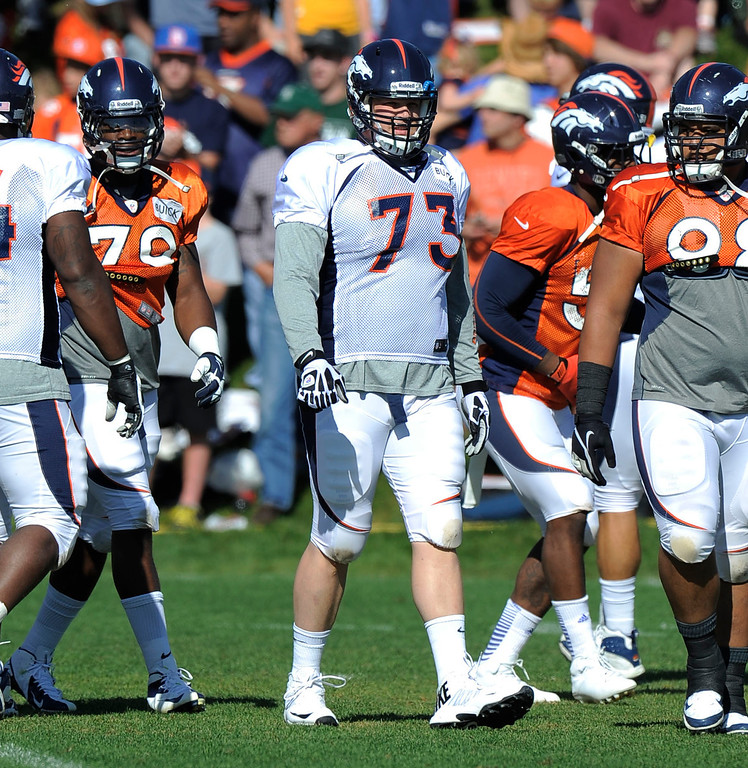 . Denver Broncos G Chris Kuper (73) back in pads during training camp August 13, 2013 at Dove Valley. (Photo By John Leyba/The Denver Post)