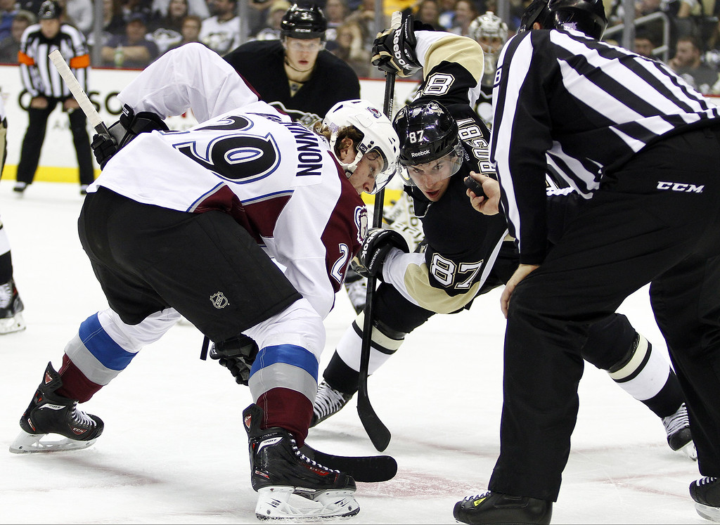 . Nathan MacKinnon #29 of the Colorado Avalanche and Sidney Crosby #87 of the Pittsburgh Penguins take the face-off during the game at Consol Energy Center on October 21, 2013 in Pittsburgh, Pennsylvania.  (Photo by Justin K. Aller/Getty Images)