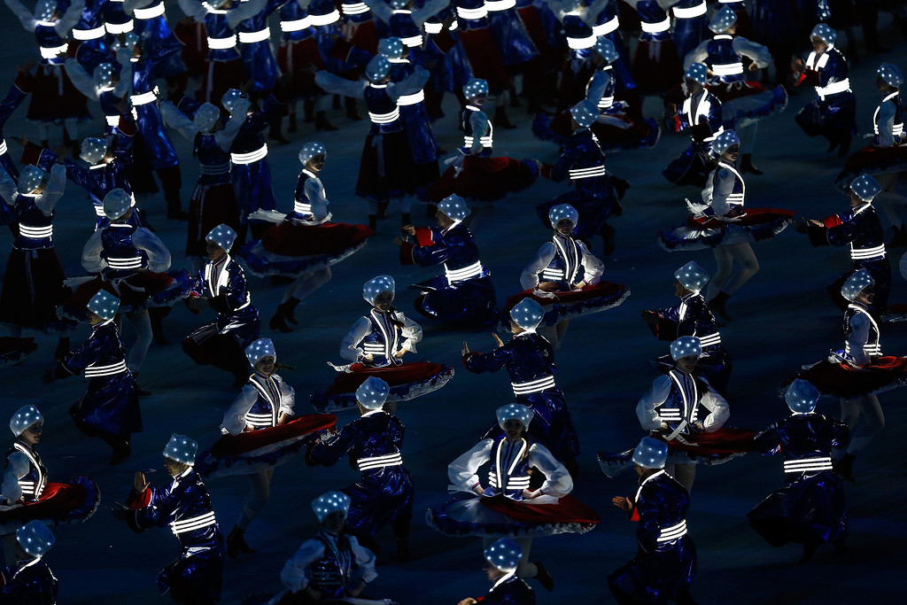 . Cossack dancers perform during the finale of the Closing Ceremony of the 2014 Paralympic Winter Games at Fisht Olympic Stadium on March 16, 2014 in Sochi, Russia.  (Photo by Harry Engels/Getty Images)