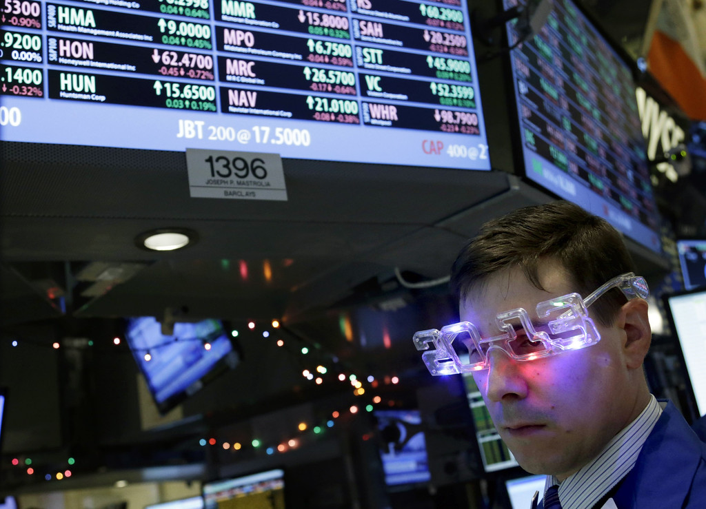 ". A trader wearing ""2013\"" glasses works on the floor at the New York Stock Exchange in New York, Monday, Dec. 31, 2012.  The stock market struggled for direction Monday morning after five days of losses, with the \""fiscal cliff\"" just hours away and lawmakers yet to reach a solution. (AP Photo/Seth Wenig)"