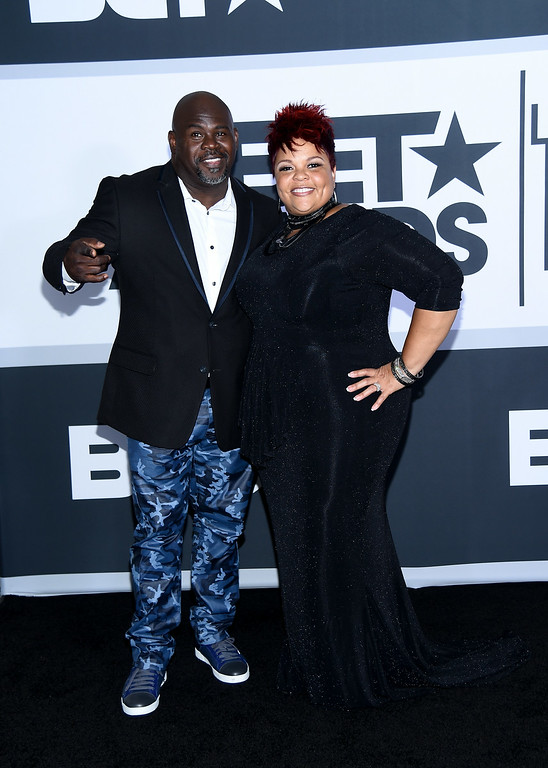 . Actor David Mann (L) and singer Tamela Mann pose in the press room during the BET AWARDS \'14 at Nokia Theatre L.A. LIVE on June 29, 2014 in Los Angeles, California.  (Photo by Michael Buckner/Getty Images for BET)
