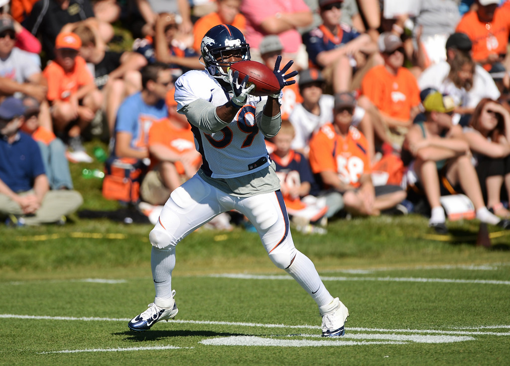 . CENTENNIAL, CO. - August 10: C.J. Anderson of the Denver Broncos (39) catches a pass during the training camp at Dove Valley. Centennial, Colorado. August 10, 2013. (Photo By Hyoung Chang/The Denver Post)