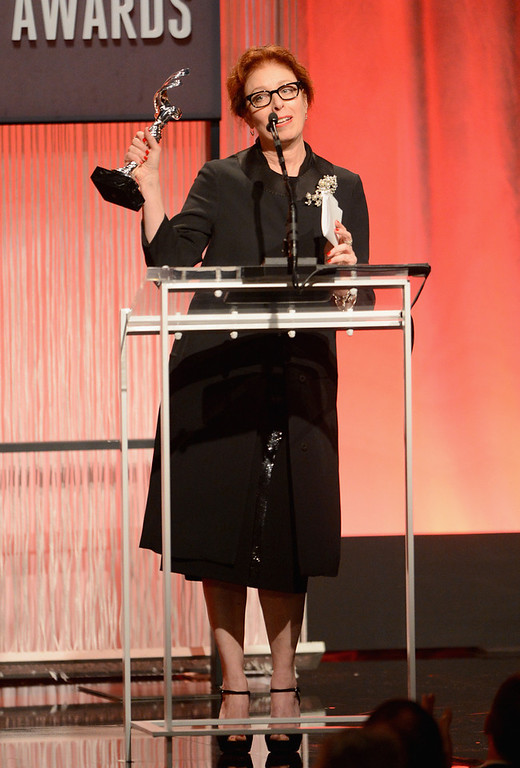. Costume Designer Judianna Makovsky accepts the award for Career Achievement in Film onstage during the 15th Annual Costume Designers Guild Awards with presenting sponsor Lacoste at The Beverly Hilton Hotel on February 19, 2013 in Beverly Hills, California.  (Photo by Jason Merritt/Getty Images for CDG)