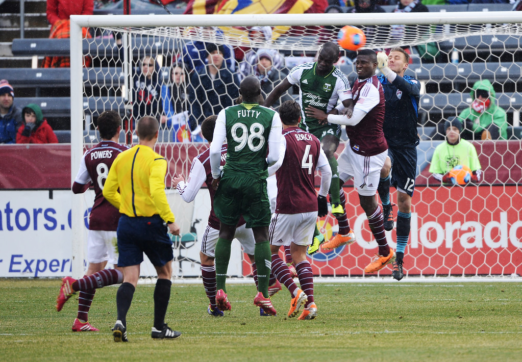 . COMMERCE CITY MARCH 22: John Berner of Colorado Rapids (12), right, saves the goal in the 1st half of the game at Dick\'s Sporting Goods Park. Commerce City, Colorado. March 22. 2014. Colorado won 2-0. (Photo by Hyoung Chang/The Denver Post)