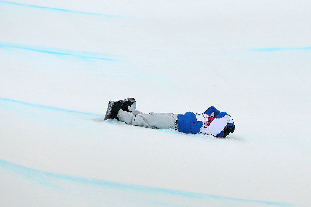 . Johann Baisamy of France crashes out in the Snowboard Men\'s Halfpipe Semifinal on day four of the Sochi 2014 Winter Olympics at Rosa Khutor Extreme Park on February 11, 2014 in Sochi, Russia.  (Photo by Cameron Spencer/Getty Images)