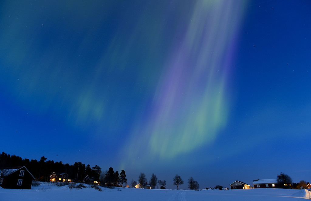 . The Aurora Borealis light up the sky at twilight on March 17, 2013, between the towns of Are and Ostersund, Sweden.   JONATHAN NACKSTRAND/AFP/Getty Images