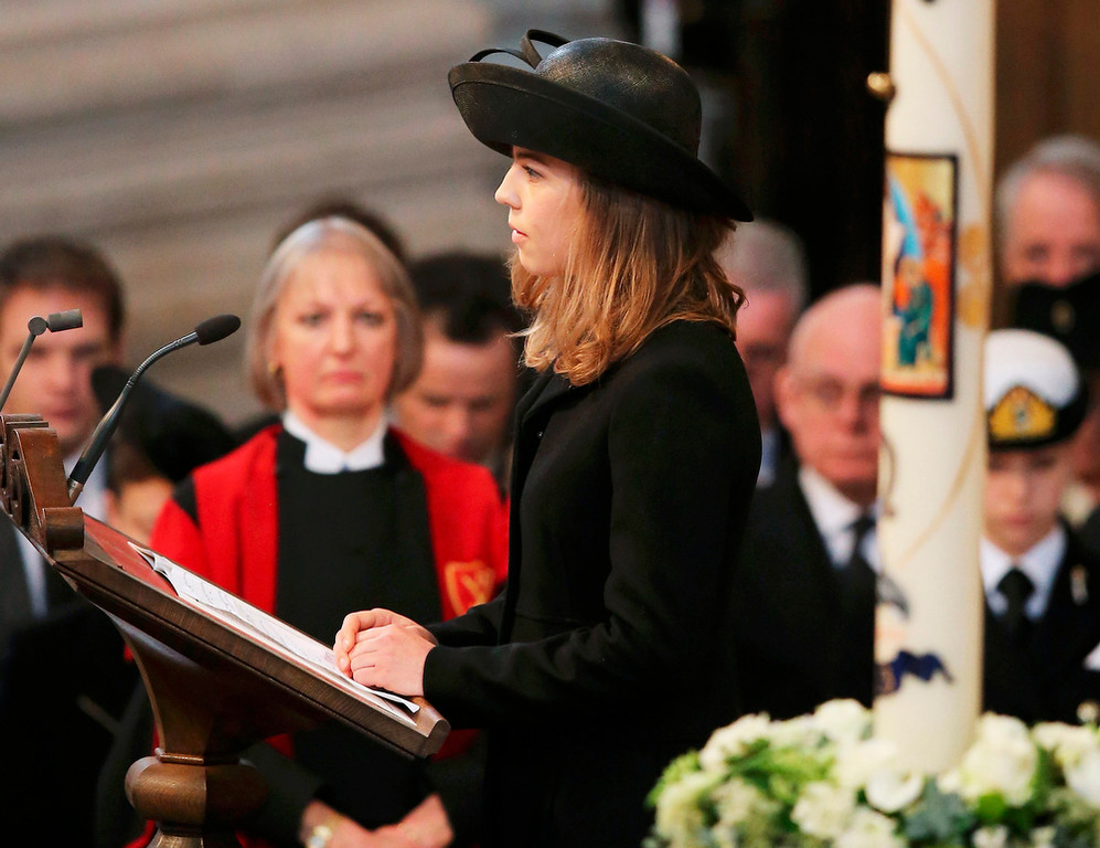 . Amanda Thatcher, granddaughter of former British prime minister Margaret Thatcher, gives a reading during her funeral service at St Paul\'s Cathedral in London April 17, 2013. Thatcher, who was Conservative prime minister between 1979 and 1990, died on April 8 at the age of 87. REUTERS/Christopher Furlong/Pool