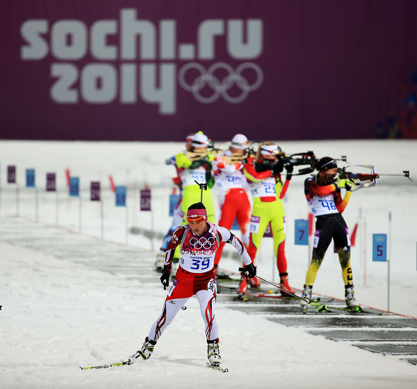 . Fuyuko Suzuki of Japan competes in the Women\'s 10 km Pursuit during day four of the Sochi 2014 Winter Olympics at Laura Cross-country Ski & Biathlon Center on February 11, 2014 in Sochi, Russia.  (Photo by Richard Heathcote/Getty Images)