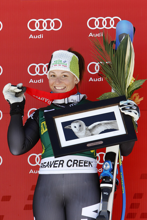 . Elena Fanchini of Italy takes 3rd place during the Audi FIS Alpine Ski World Cup Women\'s Downhill on November 29, 2013 in Beaver Creek, Colorado. (Photo by Alexis Boichard/Agence Zoom/Getty Images)