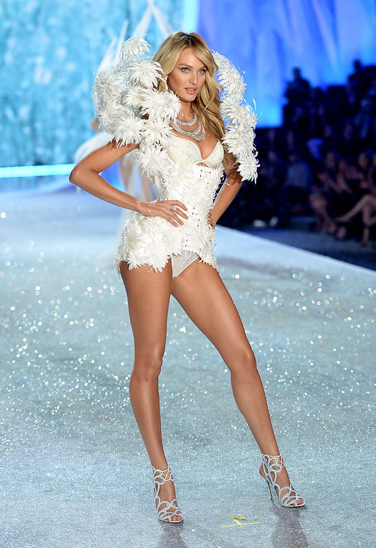 . Model Candice Swanepoel walks the runway at the 2013 Victoria\'s Secret Fashion Show at Lexington Avenue Armory on November 13, 2013 in New York City.  (Photo by Dimitrios Kambouris/Getty Images for Victoria\'s Secret)