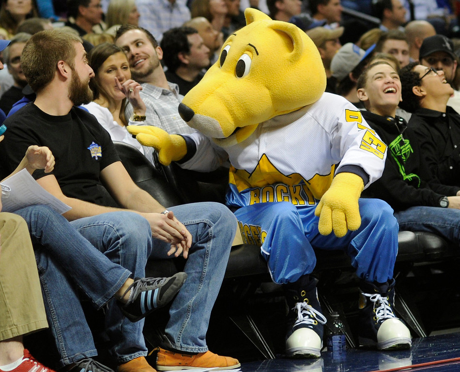 . Mascot Rocky took some grief from fans after he missed a shot from mid-court during a time-out in the second half. The Minnesota Timberwolves took a bite out of the Denver Nuggets winning 101-97 at the Pepsi Center Thursday night, January 3, 2013. Karl Gehring/The Denver Post