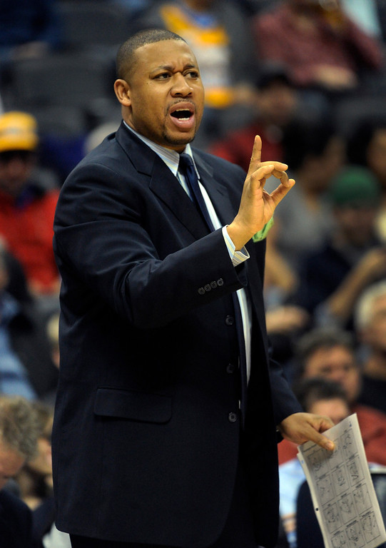 . DENVER, CO - JANUARY 18: Denver Nuggets assistant coach Melvin Hunt talked to the team from the bench in the first half. The Denver Nuggets hosted the Washington Wizard at the Pepsi Center Friday night, January 18, 2013. Karl Gehring/The Denver Post