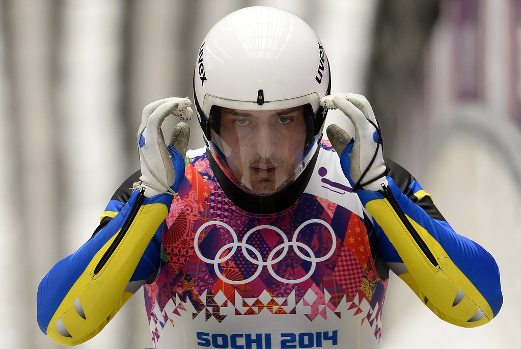 . Ukraine\'s Andriy Mandziy competes in the Men\'s Luge Singles Run at the Sliding Center Sanki during the Sochi Winter Olympics on February 9, 2014.         LIONEL BONAVENTURE/AFP/Getty Images