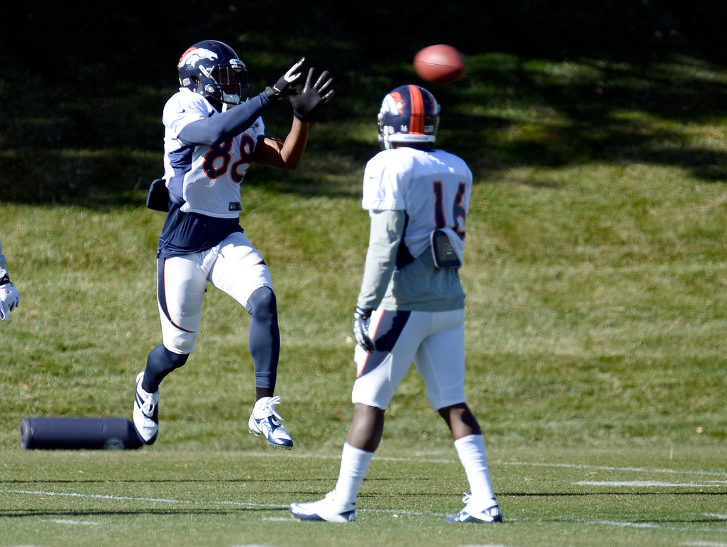 . Denver Broncos wide receiver Demaryius Thomas (88) catches a pass during practice November 6, 2013 at Dove Valley. (Photo by John Leyba/The Denver Post)