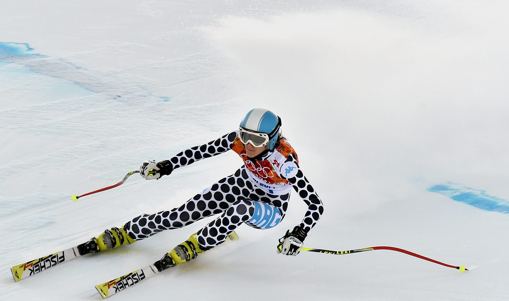 . Macarena Simari Birkner of Argentina in action during the Downhill portion of the Women\'s Super Combined race at the Rosa Khutor Alpine Center during the Sochi 2014 Olympic Games, Krasnaya Polyana, Russia, 10 February 2014.  EPA/JUSTIN LANE