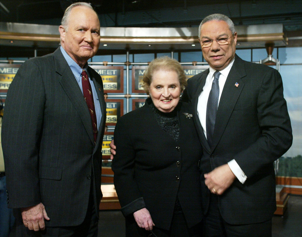 ". Former U.S. Secretary of State Madeleine Albright (C), Secretary of State Colin Powell (R) and former Commander in the Persian Gulf General Norman Schwarzkopf (Ret.) (L) pose for photographer during a segmental break of the taping of NBC\'s \'Meet the Press\' February 9, 2003 at the NBC studios in Washington, DC.  Powell said on the show Saddam Hussein ""has only got a short period of time left to demonstrate compliance, or force will have to be used to bring him into compliance.\""  (Photo by Alex Wong/Getty Images)"