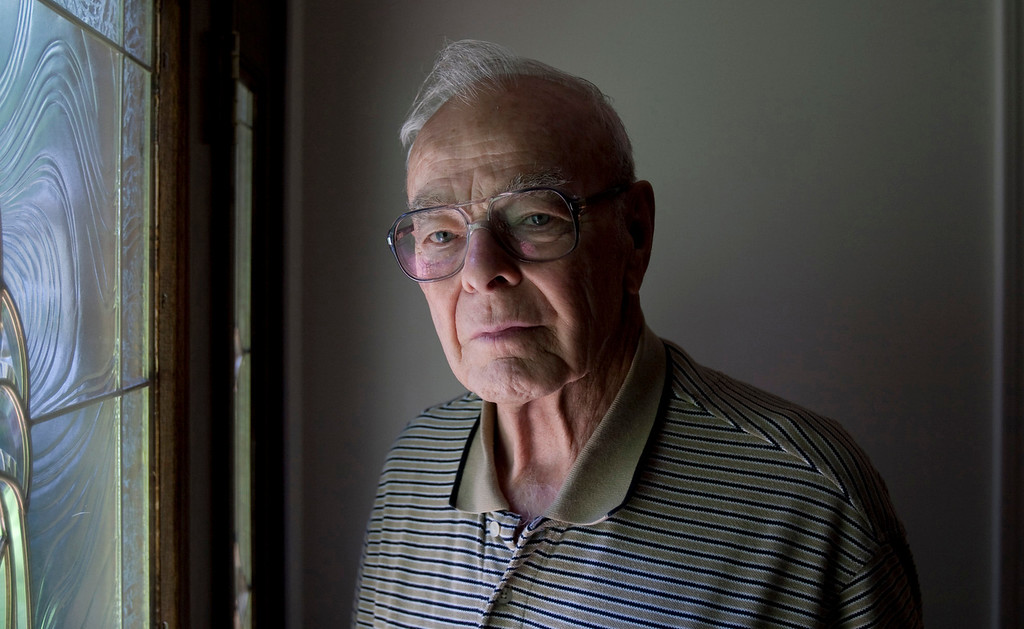 . William Funchess of Clemson, South Carolina, worked with other POWs to nurse Father Emil Kapaun back to health just before he died. Funchess slept next to Kapaun and tried to keep him warm with his body heat. Father Emil Kapaun will be awarded the Medal of Honor on April 11, 2013. (Travis Heying/Wichita Eagle/MCT)