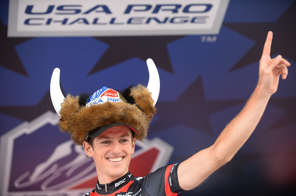 . Mathias Fränk (SUI) of BMC Racing Team celebrates his win in the second stage of the 2013 USA Pro Challenge race from Aspen to Breckenridge on Tuesday, August 20, 2013.  (Photo By Hyoung Chang/The Denver Post)