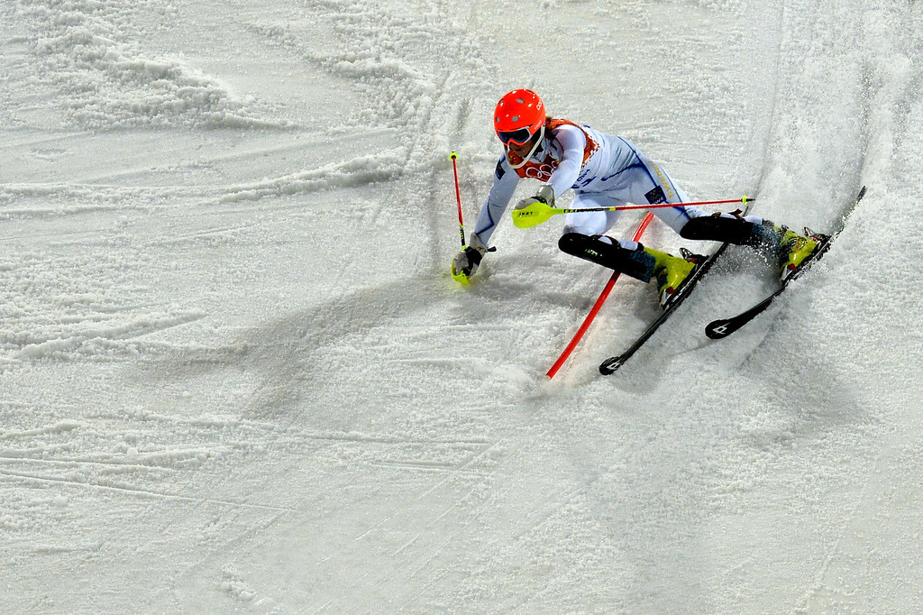 . Sweden\'s Emelie Wikstroem competes during the Women\'s Alpine Skiing Slalom Run 2 at the Rosa Khutor Alpine Center during the Sochi Winter Olympics on February 21, 2014.   AFP PHOTO / DIMITAR DILKOFF/AFP/Getty Images