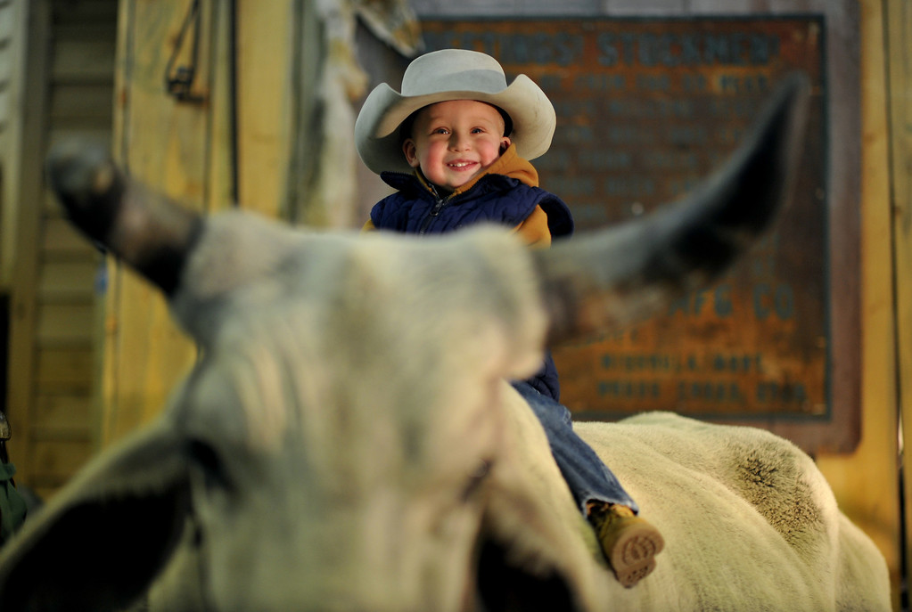 . Brock Richardson, age 2, of Mead, CO. is on the bull from Bear Creek Ranch of Morrison, CO. at Expo Hall of 2013 National Western Stock Show on Tuesday. Denver. CO, January 15, 2013.  Hyoung Chang, The Denver Post