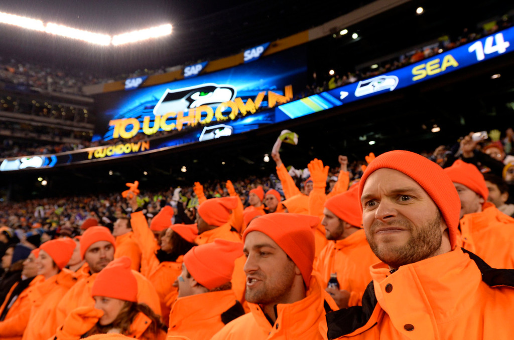 . (R) Andrew Bancroft and (l) Jesse Jenseen both of Brooklyn, NY.  They are with the Bagavagadonds group. The Denver Broncos vs the Seattle Seahawks in Super Bowl XLVIII at MetLife Stadium in East Rutherford, New Jersey Sunday, February 2, 2014. (Photo by Craig F. Walker/The Denver Post)