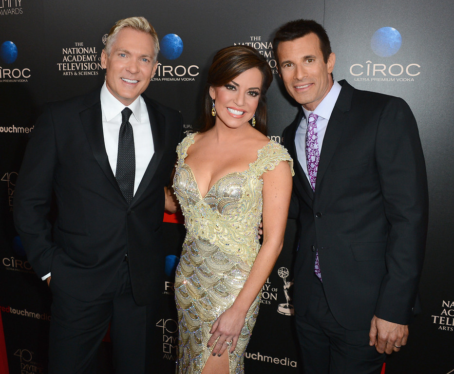 . (L-R) Hosts Sam Champion, Robin Meade and AJ Hammer attend The 40th Annual Daytime Emmy Awards at The Beverly Hilton Hotel on June 16, 2013 in Beverly Hills, California.  (Photo by Mark Davis/Getty Images)