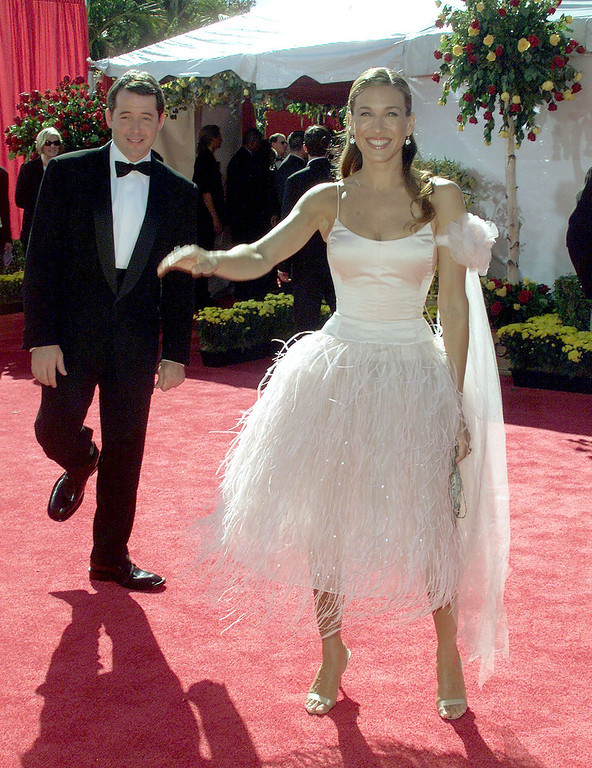 ". Actress Sarah Jessica Parker nominated for ""Lead Actress, Comedy Series\"" for her role in \""Sex and the City\"" poses with her husband Matthew Broderick during the arrivals to the 52nd Annual Primetime Emmy Awards at the Shrine Auditorium in Los Angeles 10 September, 2000.   LUCY NICHOLSON/AFP/Getty Images"