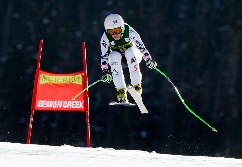 . Austria\'s Regina Sterz flies off the last jump during the women\'s World Cup Downhill skiing event Friday, Nov. 29, 2013, in Beaver Creek, Colo. (AP Photo/Charles Krupa)