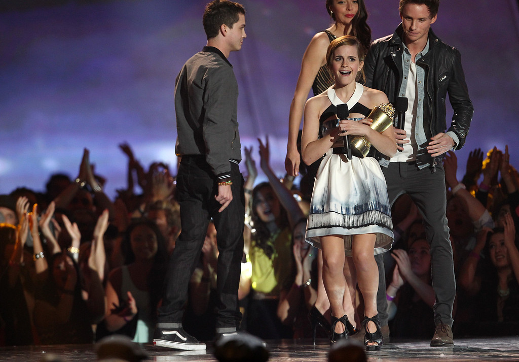 . Emma Watson accepts the trailblazer award at the MTV Movie Awards in Sony Pictures Studio Lot in Culver City, Calif., on Sunday April 14, 2013. (Photo by Matt Sayles/Invision /AP)