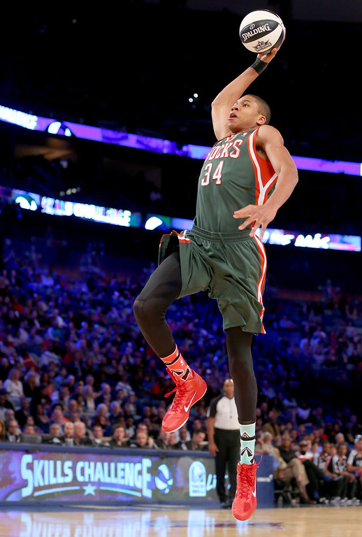 . NEW ORLEANS, LA - FEBRUARY 15:  Eastern Conference All-Star Giannis Antetokounmpo #34 of the Milwaukee Bucks competes in the Taco Bell Skills Challenge 2014 as part of the 2014 NBA All-Star Weekend at the Smoothie King Center on February 15, 2014 in New Orleans, Louisiana. (Photo by Ronald Martinez/Getty Images)