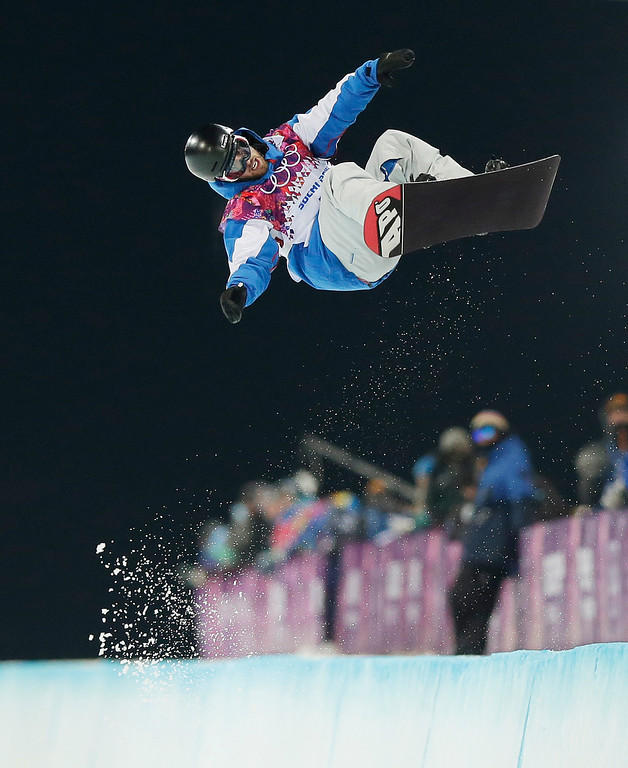 . France\'s Johann Baisamy competes in the men\'s snowboard halfpipe semifinal at the Rosa Khutor Extreme Park, at the 2014 Winter Olympics, Tuesday, Feb. 11, 2014, in Krasnaya Polyana, Russia. (AP Photo/Andy Wong)