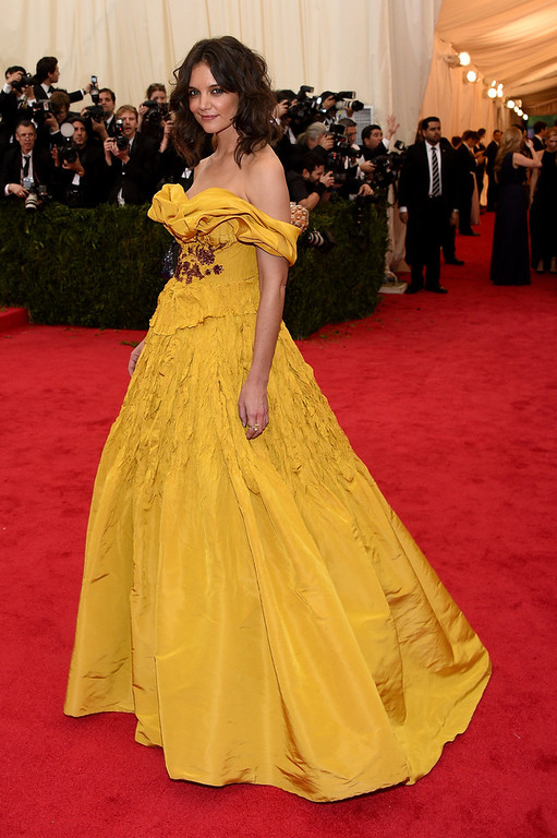 """. Katie Holmes attends the \""""Charles James: Beyond Fashion\"""" Costume Institute Gala at the Metropolitan Museum of Art on May 5, 2014 in New York City.  (Photo by Larry Busacca/Getty Images)"""