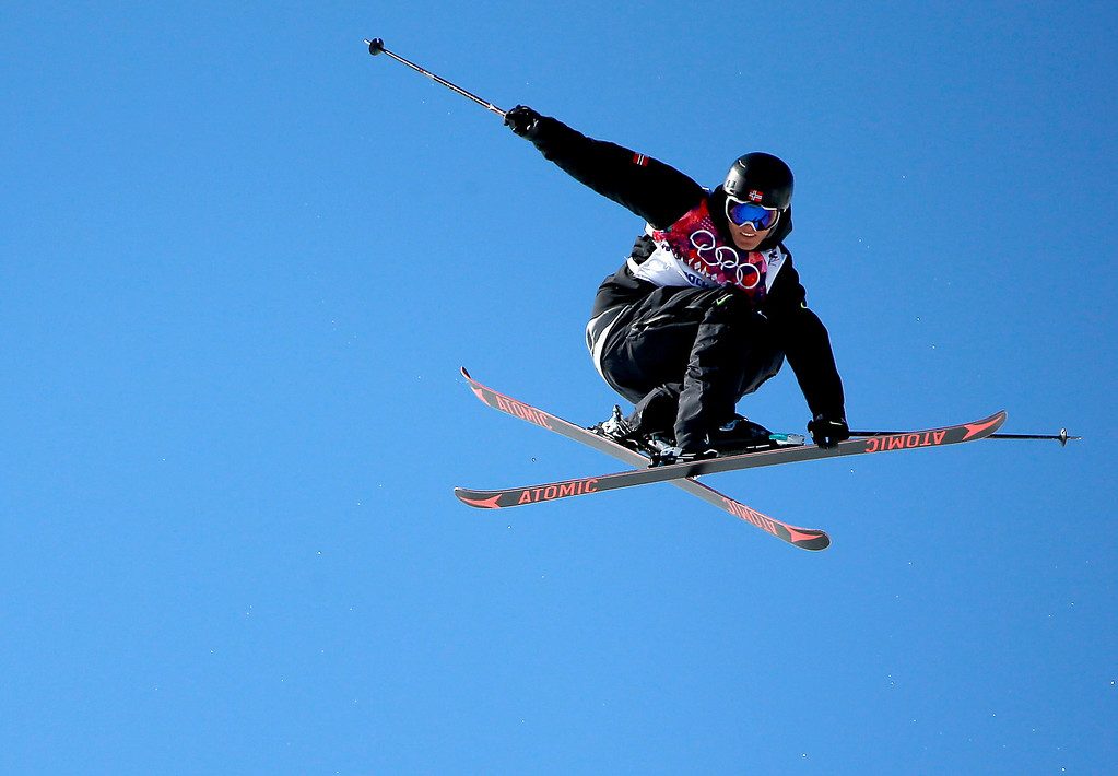 . Andreas Haatveit of Norway in action during the Men\'s Freestyle Skiing Slopestyle Final in the Rosa Khutor Extreme Park at the Sochi 2014 Olympic Games, Krasnaya Polyana, Russia, 13 February 2014.  EPA/VALDRIN XHEMAJ