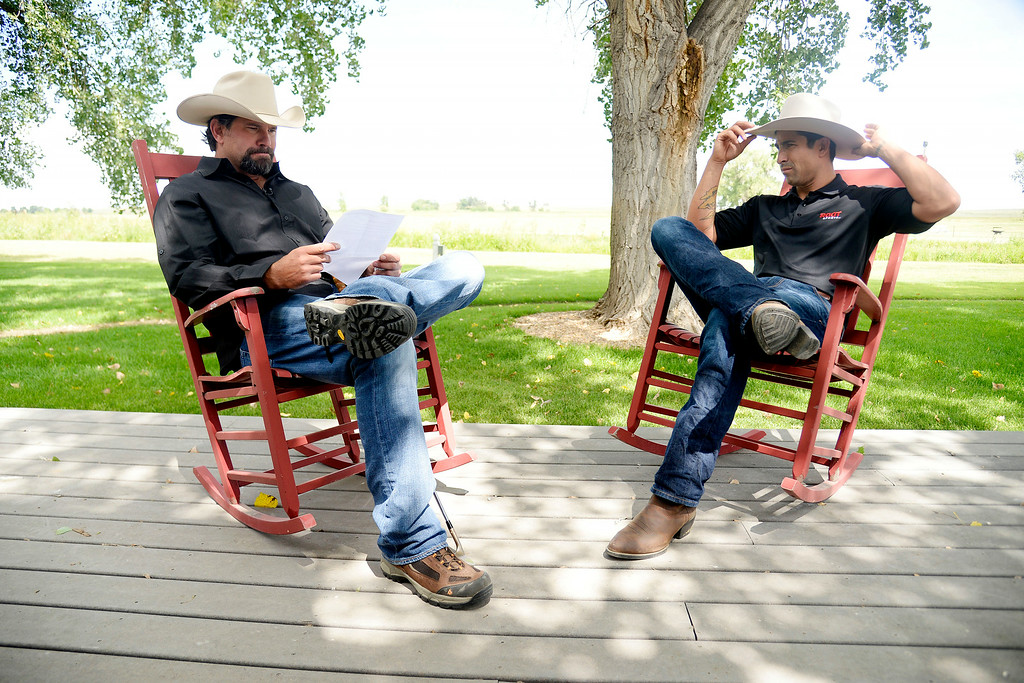 . KERSEY, CO - AUGUST 14: Todd Helton prepares to do an interview with former teammate Ryan Spilborghs, now of Root Sports, at Helton\'s ranch. Former Colorado Rockies first baseman Todd Helton was photographed at his ranch on Thursday, August 14, 2014. (Photo by AAron Ontiveroz/The Denver Post)