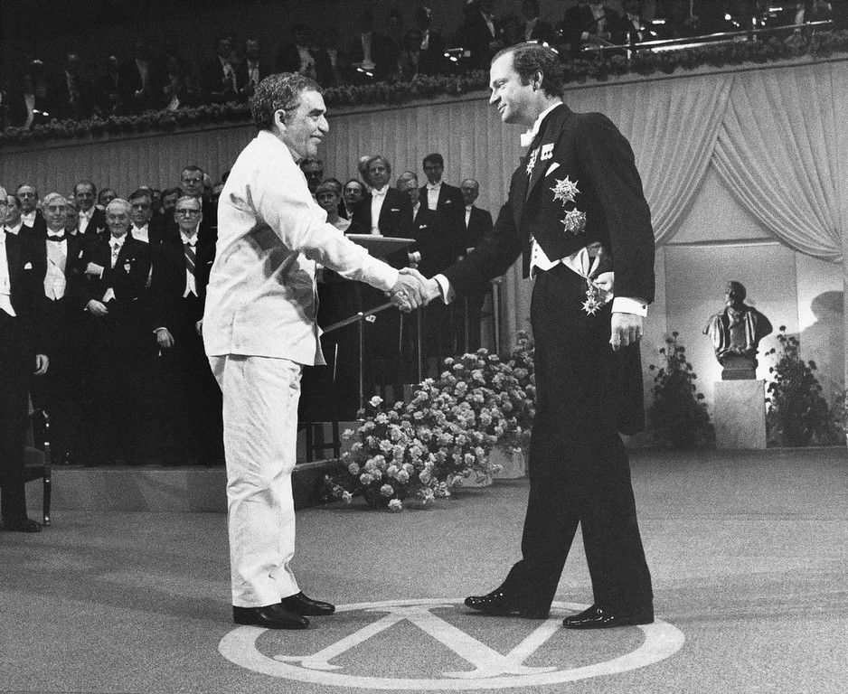 . In this Dec. 8, 1982 file photo, Gabriel Garcia Marquez receives the literature award from King Carl Gustaf at the Concert Hall in Stockholm, Sweden. Marquez died Thursday April 17, 2014 at his home in Mexico City. (AP Photo/Bjorn Elgstrand, Pool, File)