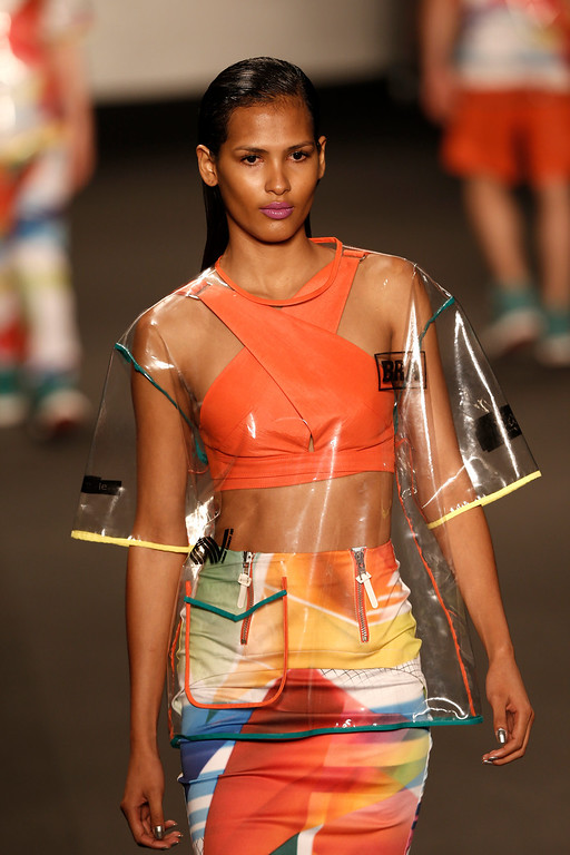 . A model wears a creation from the Coca Cola Jeans collection during Fashion Week in Rio de Janeiro, Brazil, Wednesday, April 9, 2014. (AP Photo/Silvia Izquierdo)