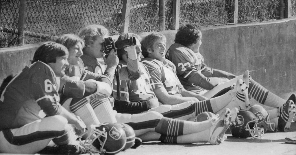 . JAN 1978 - Steve Schindler, Tom Glassic, Ron Egloff, John Schultz, Rob Lytle And Jon Keyworth (Left To Right) Await Photographers. (Bill Wunsch/The Denver Post)