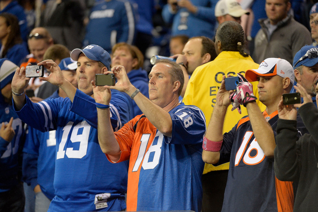 . Peyton Manning fans in full force for the Denver Broncos Indianapolis Colts game October 20, 2013 at Lucas Oil Field. Photo by John Leyba/The Denver Post)