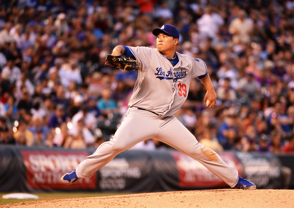 . DENVER JUNE 06: Hyun-Jin Ryu of Los Angeles Dodgers (99) is pitching against Colorado Rockies at Coors Field in Denver, Colorado June 6, 2014. (Photo by Hyoung Chang/The Denver Post)