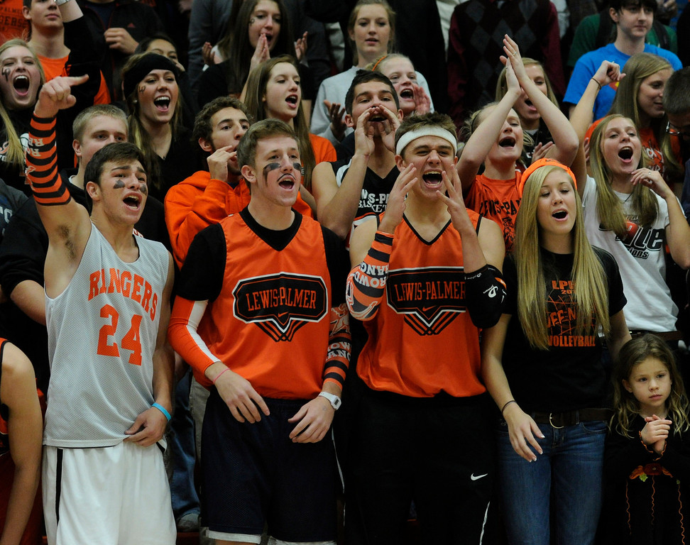 . Rangers fans had a good time cheering on the team Friday night. The Lewis-Palmer High School boy\'s basketball team defeated Broomfield 75-53 Friday night, December 7, 2012.  Karl Gehring/The Denver Post